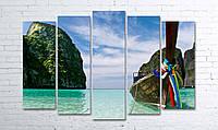 Модульная картина на холсте 5 в 1 Тайланд. Phi Phi острова 100х150 см