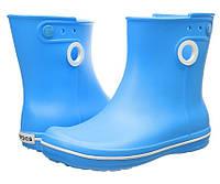 Сапоги резиновые женские короткие с кружочком Crocs Women's Jaunt Shorty Boot / дождевики полусапоги Резиновые сапоги, 39, Голубой