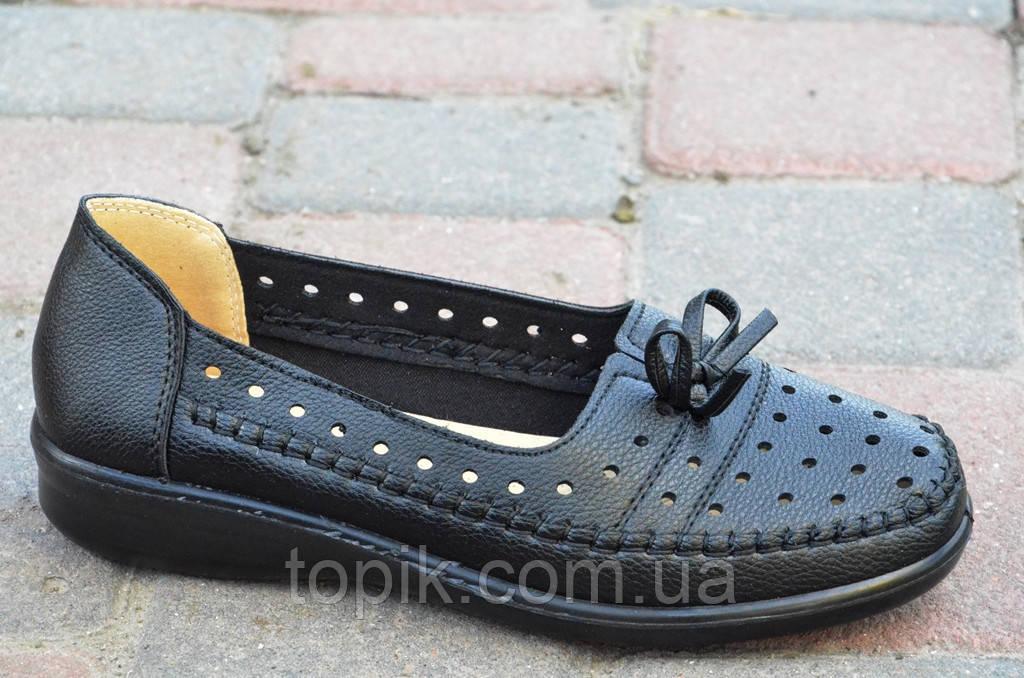 Мокасины, туфли женские летние черные качественная искусственная кожа легкие (Код: 619а)