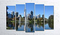 Модульная картина на холсте 5 в 1 Австралия. Королевский парк. Речка Лебедь 100х150 см (секции разного размера)