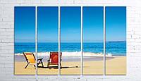 Модульная картина на холсте 5 в 1 Морской пляж 100х150 см