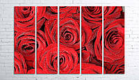 Модульная картина на холсте 5 в 1 Розы 100х150 см