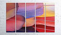 Модульная картина на холсте 5 в 1 Перья 100х150 см