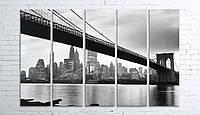 Модульная картина на холсте 5 в 1 Мост 100х150 см