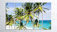 Модульная картина на холсте 5 в 1 Пальмы на пляже 100х150 см