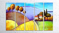 Модульная картина на холсте 5 в 1 Цветной пейзаж 100х150 см