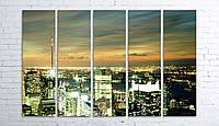 Модульная картина на холсте 5 в 1 Ночной город 100х150 см
