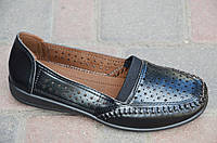 Мокасины, туфли женские летние черные искусственная кожа мягкие легкие (Код: 621а)