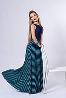 Платье с трикотажной юбкой и гипюр.полочкой  р 40-42,44,46,48 бирюзовое с синим.