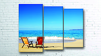 Модульная картина на холсте 3 в 1 Морской пляж 100х130 см (секции разного размера)