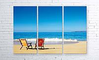 Модульная картина на холсте 3 в 1 Морской пляж 100х150 см