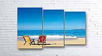 Модульная картина на холсте 3 в 1 Морской пляж 100х160 см (секции разного размера)