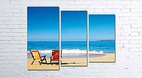 Модульная картина на холсте 3 в 1 Морской пляж 80х106 см (секции разного размера)