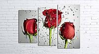 Модульная картина на холсте 3 в 1 Розы на сером 80х106 см (секции разного размера)