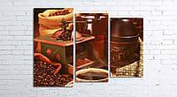 Модульная картина на холсте 3 в 1 Кофе и зерна 80х106 см (секции разного размера)