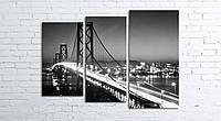 Модульная картина на холсте 3 в 1 Ночной мост 80х106 см (секции разного размера)
