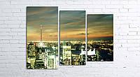 Модульная картина на холсте 3 в 1 Ночной город 80х106 см (секции разного размера)