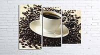 Модульная картина на холсте 3 в 1 Чашка кофе на зернах 80х106 см (секции разного размера)