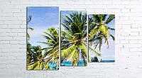 Модульная картина на холсте 3 в 1 Пальмы на пляже 80х106 см (секции разного размера)