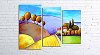 Модульная картина на холсте 3 в 1 Цветной пейзаж 80х106 см (секции разного размера)
