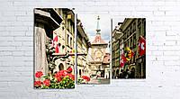 Модульная картина на холсте 3 в 1 Старый город, Берн, Швейцария 80х106 см (секции разного размера)