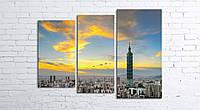 Модульная картина на холсте 3 в 1 Тайбей. Тайвань. Финансовый центр 80х106 см (секции разного размера)