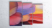 Модульная картина на холсте 3 в 1 Перья 100х130 см (секции разного размера)