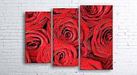 Модульная картина на холсте 3 в 1 Розы 100х130 см (секции разного размера)