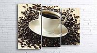 Модульная картина на холсте 3 в 1 Чашка кофе на зернах 100х130 см (секции разного размера)