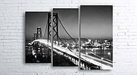 Модульная картина на холсте 3 в 1 Ночной мост 100х130 см (секции разного размера)