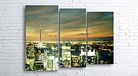 Модульная картина на холсте 3 в 1 Ночной город 100х130 см (секции разного размера)