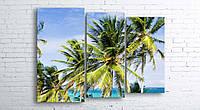 Модульная картина на холсте 3 в 1 Пальмы на пляже 100х130 см (секции разного размера)