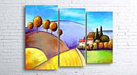 Модульная картина на холсте 3 в 1 Цветной пейзаж 100х130 см (секции разного размера)