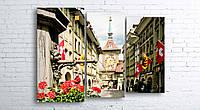 Модульная картина на холсте 3 в 1 Старый город, Берн, Швейцария 100х130 см (секции разного размера)