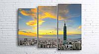 Модульная картина на холсте 3 в 1 Тайбей. Тайвань. Финансовый центр 100х130 см (секции разного размера)