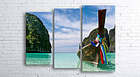 Модульная картина на холсте 3 в 1 Тайланд. Phi Phi острова 100х130 см