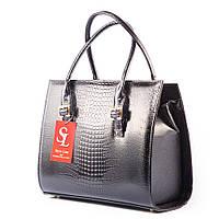 Женская сумка - классика прямоугольная черная в крокодиле