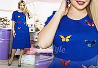 """Платье летнее повседневное однотонное с пришивной аппликацией """"бабочки"""", разные расцветки, большие размеры"""