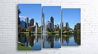 Модульная картина на холсте 3 в 1 Австралия. Королевский парк. Речка Лебедь 100х130 см (секции разного размера)