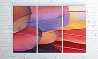 Модульная картина на холсте 3 в 1 Перья 100х150 см