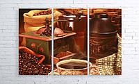 Модульная картина на холсте 3 в 1 Кофе и зерна 100х150 см