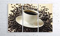 Модульная картина на холсте 3 в 1 Чашка кофе на зернах 100х150 см