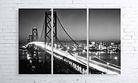 Модульная картина на холсте 3 в 1 Ночной мост 100х150 см
