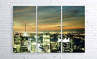 Модульная картина на холсте 3 в 1 Ночной город 100х150 см