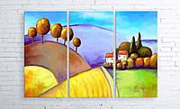Модульная картина на холсте 3 в 1 Цветной пейзаж 100х150 см