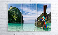 Модульная картина на холсте 3 в 1 Тайланд. Phi Phi острова 100х150 см