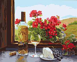 Раскраска по номерам Идейка Натюрморт с вином и геранью Худ Фран Ди Джакомо (KH2205) 40 х 50 см