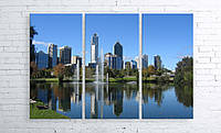 Модульная картина на холсте 3 в 1 Австралия. Королевский парк. Речка Лебедь 100х150 см