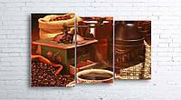 Модульная картина на холсте 3 в 1 Кофе и зерна 100х160 см (секции разного размера)