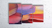 Модульная картина на холсте 3 в 1 Перья 100х160 см (секции разного размера)